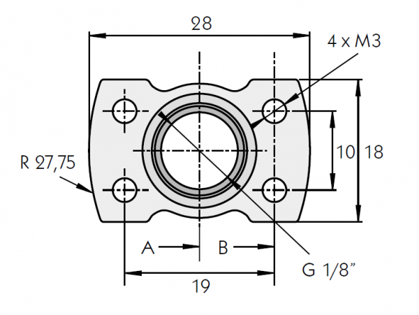 "G1/8"" Adapter Flanschmontage"